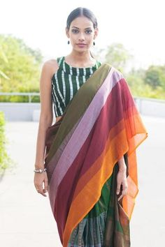 This saree is inspired by the faint light that touches the dark forests. This cotton saree is soft and can be draped easily. This saree is best worn with d Saree Jackets, Formal Saree, Modern Saree, Sari Dress, Simple Sarees, Stylish Sarees, Handloom Saree, Saree Blouse Designs, Blouse Patterns