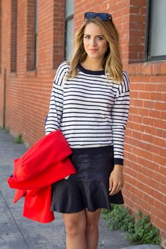 Gal Meets Glam - Love the striped boyish shirt with a cute skirt and heels