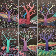 Publishing piles of Artsonia work today. I always love the variety in this grade Y tree lesson. Arts And Crafts For Teens, Art And Craft Videos, Classroom Art Projects, Art Classroom, Autumn Art, Winter Art, Construction Paper Art, 2nd Grade Art, Ecole Art
