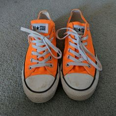 7de678869875 Shop Women s Converse Orange size 8 Sneakers at a discounted price at  Poshmark. Description  Bright orange decently worn very comfortable.