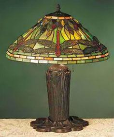 Meyda Tiffany 26680 3 Light Mosaic Dragonfly Table Lamp - Lighting Universe