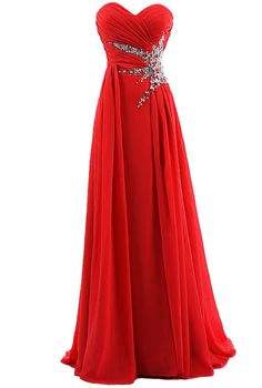 Dresstells® Sweetheart Beading Floor-length Chiffon Prom Dress Long Evening Gown Size 10 Red