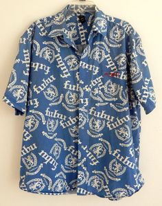 FUBU Mens Shirt Blue Casual Button Down Shirt  Short Sleeve LOGO Size 2XL Cool  #FUBU #ButtonFront