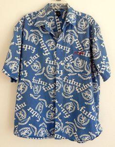 FUBU Mens Shirt Blue Casual Button Down Shirt  Short Sleeve LOGO Size 2XL Cool  #FUBU #ButtonFront