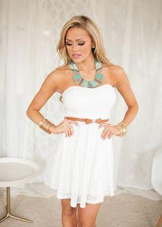 Online boutique. Best outfits. Beckoning You Belted Dress White - Modern Vintage Boutique