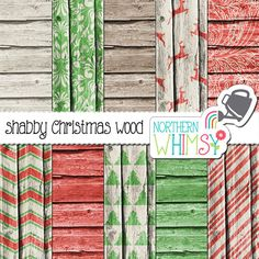 Christmas Digital Paper Pack barn board by NorthernWhimsyDesign