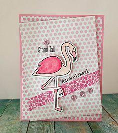 Flamingo; polka dots; tattered rose DI; muted; layered stamping