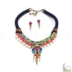 Collar de Cordon y Texturas Etnicas con Perlas Y Pedreria. #statementnecklace #necklace #oparina #collar #aztec #etnic #boho #bohochic #glam #pearls #collar  #madewithstudio