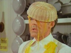 Mr. Olsen gets eggs dumped on his head. (Little House on the Prairie)