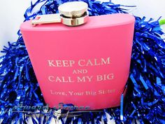 Keep Calm and Call My Big - College Fraternity  Flask ~ Sorority Flask ~With Free Engraving~ 6 oz Leather Wrapped Stainless Steel Flask