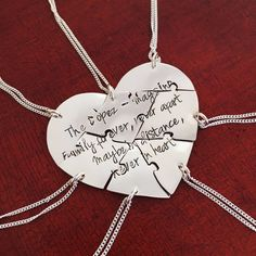Sawed and engraved by hand, these 6 piece heart puzzle necklace sets are perfect for groups of friends or family. Have them engraved with a quote or individually with names. Crafted from Argentium Sterling Silver, these are highly rated top sellers in my store and people love them for weddings, farewells, and friendship gifts #heartpuzzlenecklaces #puzzlenecklaces #friendshipnecklaces #friendshipjewelry #farewellgift #graduationgift #weddinggift #friendnecklaces #friendshipjewelry… Dog Jewelry, Animal Jewelry, Custom Jewelry, Jewlery, Friend Necklaces, Girls Necklaces, Silver Necklaces, Friendship Necklaces, Friendship Gifts