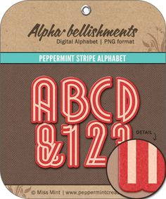 Digital Scrapbook: Peppermint Stripe Alphabet
