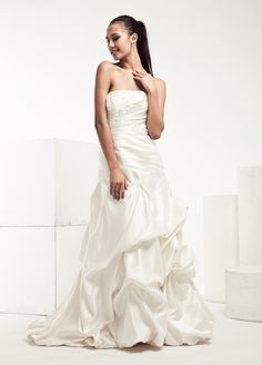 Simple Satin Wedding Dress With Catch-Up Detailed Skirt