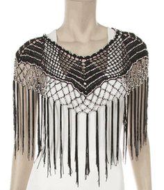 #300B--Black or white crochet-poncho-shawl  with interwoven beads size XL to 3xl