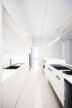 """""""White room."""" Interior kitchen. Modern appliances."""