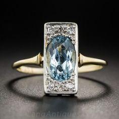 Edwardian Aquamarine and Diamond Dinner Ring