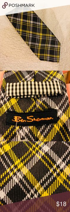 Ben Sherman Grey & Yellow Plaid Skinny Tie Ben Sherman Grey, Yellow With Silver Plaid Woven Silk Skinny Modern Necktie! Like new!  Please make reasonable offers and bundle! Ask questions :) Ben Sherman Accessories Ties