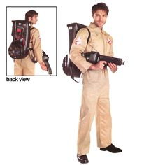 """Ghostbusters Adult Costume - Includes jumpsuit with Ghostbusters emblem and inflatable """"proton pack"""" backpack. One size Adult Standard (up to a size 38-42). This is an officially licensed Ghostbusters costume. One-Size."""