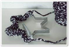 turn old cookie cutters into ornaments: crochet it, wrap it, ribbon, yarn… #diy