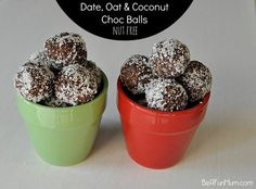 Nut free energy balls  Make them small, although natural still sweet!  http://beafunmum.com/2014/03/date-oat-coconut-balls-nut-free/