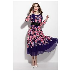 Purple Floral Print Long Sleeve Chiffon Dress With Belt