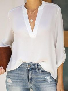 V Neck Patchwork Brief Plain Long Sleeve Blouse - Top clothes Simple Outfits, Trendy Outfits, Spring Outfits, Winter Outfits, High Waisted Black Jeans, V Neck Blouse, Blouse Dress, Short Sleeve Blouse, Types Of Collars