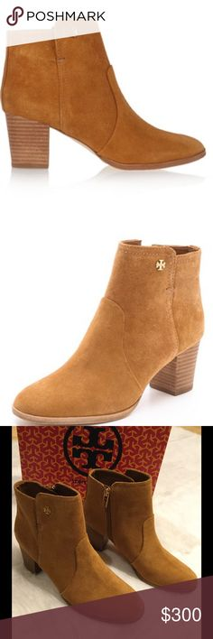 """NIB Tory Burch Sabe Booties Gorgeous Tory Burch booties in Caramel.  Brand new in box.  A diminutive logo tips the soft suede of a classic ankle bootie.  2 1/2"""" heel, 3 3/4"""" boot shaft, size zip closure.  Suede upper/leather lining and sole.  True to size.  There is sticky residue on soles from tags that have been removed. Tory Burch Shoes Ankle Boots & Booties"""