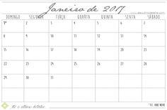 Calendário de 2017 para imprimir, escrever e rabiscar. Tem todos os meses do ano com feriado.