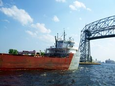 Ship entering harbor at Canal Park in Duluth, Minnesota. Love the aerial Lift Bridge.  There are only two like it in the world.