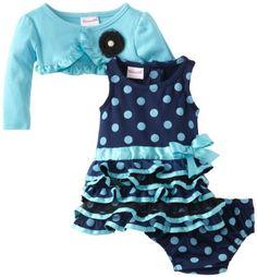 Nannette Baby-Girls Newborn 3 Piece Dotted Ruffle Dress S...