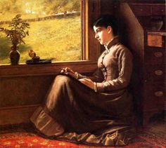 woman seated at window - john george brown