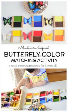 Montessori butterfly color matching activity for toddlers and preschoolers