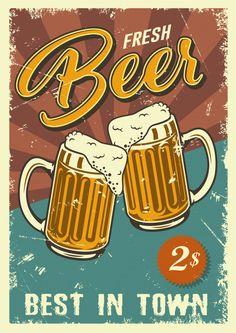 Retro Graphic Design, Vintage Logo Design, Logo Vintage, Beer Logo Design, Unique Vintage, Vintage Metal Signs, Vintage Party, Gravure Illustration, Vintage Logos