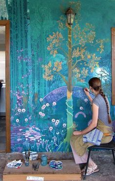 Wall murals painted chinoiserie 43 Ideas for 2019 Life In Russia, Art Mural, Painting Murals On Walls, Nursery Paintings, Wall Paintings, Fantasy Landscape, Fantasy Art, Spring Landscape, Fantasy Forest