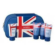 Men's Global Traveler - miniature toiletries from Herbal Home Boutique containing shave gel, shampoo, face and body wash. Beauty Packaging, Packaging Design, Packaging Ideas, Face Wash, Body Wash, Lime And Basil, Uk Flag, Shave Gel, Male Man