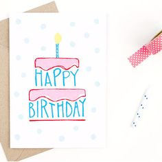"Hand-drawn design printed on 100% recycled, post-consumer paper. Comes with envelope. Outside: ""Happy birthday"" Inside: Blank for birthday wishes Dimensions: 5 inches x 7 inches."