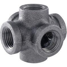1/2 in. Black Iron 6-Way Cross Double Outlet Industrial Steel Grey