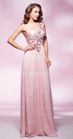 Sheath/Column One Shoulder Floor-length Chiffon And Stretch Satin Evening Dress $257.91