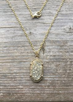 Champagne Druzy Pendant Necklace With Gold Tone Chain