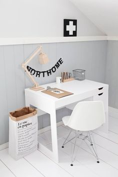 white cross desk space home office interiors home floorboards lamp