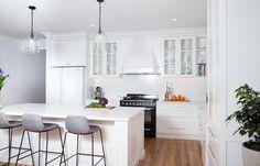 Hamptons Style Kitchen Melbourne Rachel Doors for Paint. Joinery by Summit Kitchens Kitchen Builder, Kitchen Maker, Ikea, Floating Shelf Decor, Shaker Style Doors, Layout, Restaurant, Cool House Designs, Kitchen Flooring