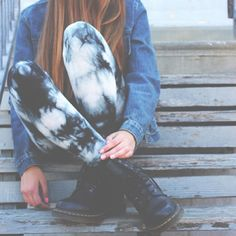 Grunge appeal in tie dye trousers with a denim jacket and Dr Martens x