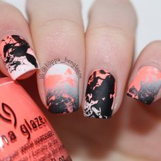 white black & coral MATTE splatter nails by nailsbyfilippabengtsson