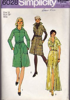 1970s Shirtdress Vintage Sewing Pattern - Simplicity 6028