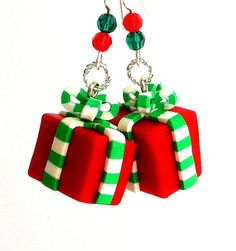Christmas earrings polymer clay wrapped gifts Free by Mindielee