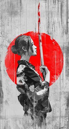Samuraia Gozen Tomoe vor Tchiburi by Carlos Jose on camus 114x210mm Geisha Kunst, Geisha Art, Geisha Japan, Japanese Artwork, Japanese Tattoo Art, Samurai Wallpaper, Arte Ninja, Samurai Artwork, Japanese Warrior