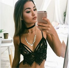 2016 Hot Women Boho Translucent Underwear Sheer Lace Frenum Strap Lingerie Bra Top bralette brassiere women push up bra