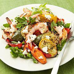 Healthy Family Dinners of Roasted Vegetable & Shrimp Salad Sea Food Salad Recipes, Shrimp Salad Recipes, Seafood Recipes, Healthy Recipes, Healthy Meals, Seafood Salad, Healthy Dishes, Delicious Recipes, Healthy Food