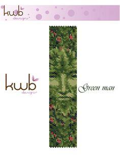 Green man cuff bracelet pattern 1-drop, even count Peyote.  8 colors by KWBdesignsjewelry on Etsy https://www.etsy.com/listing/175301524/green-man-cuff-bracelet-pattern-1-drop