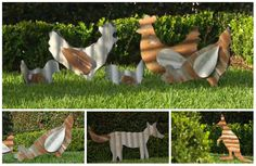 Corrugated Iron Animals - I got one to hang on the wall for Danielle (on her barn) Bet we could do these pretty easily.